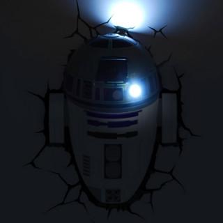 Lampada LED 3D Star Wars R2-D2 da parete a batteria luce