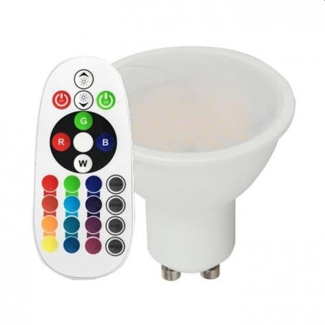 V-Tac VT-2244 Faretto LED GU10 3.5W Spotlight RGB+W Dimmerabile con Telecomado