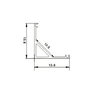 Profilo Angolare in alluminio Per Strisce LED - 2 Metri Bianco - Disegno tecnico