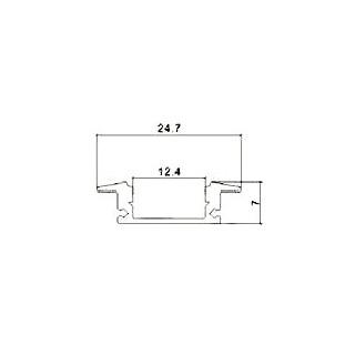 Profilo in Alluminio Per Strisce LED - 2 Metri Grigio - Disegno tecnico