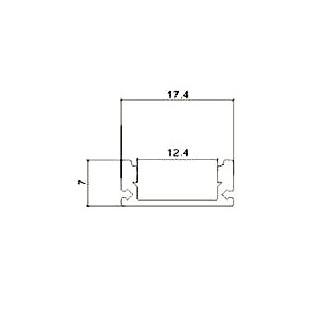 Profilo In Alluminio Per Strisce LED - 2 Metri Colore Bianco - Disegno tecnico