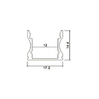 Profilo In Alluminio Per Strisce LED - 2 Metri sku 3366 - Disegno tecnico