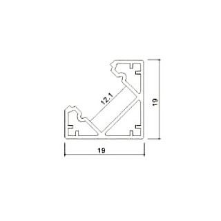 Profilo Angolare In Alluminio Per Strisce LED - 2 Metri sku 3356 - Disegno tecnico