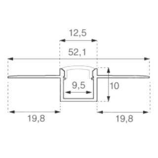 Profilo In Alluminio a Scomparsa/Incasso Per Strisce LED - 2 Metri sku 3360 - Disegno tecnico