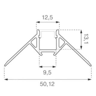 Profilo Angolare In Alluminio a Scomparsa/Incasso Per Strisce LED - 2 Metri sku 3361 - Disegno tecnico