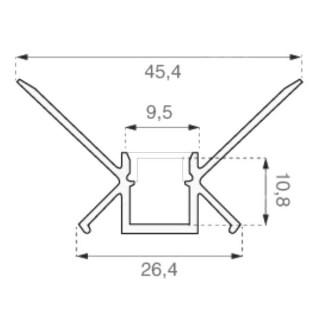 Profilo Angolare In Alluminio a Scomparsa/Incasso Per Strisce LED - 2 Metri sku 3362 - Disegno tecnico