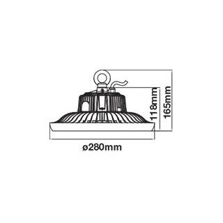 Lampada Industriale LED 100W Ufo Shape SMD Dimmerabile 90° High Bay - disegno tecnico