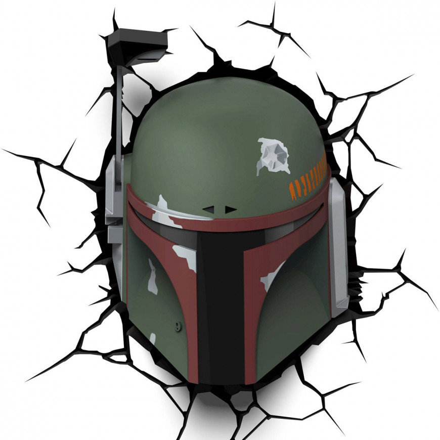Lampada LED 3D Star Wars  Boba Fett da parete a batteria
