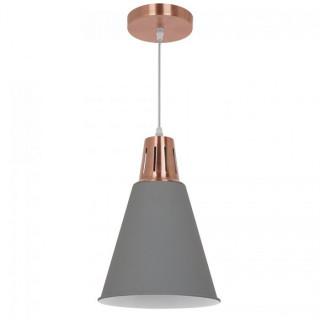 Lampadario in metallo con portalampada E27 grigio