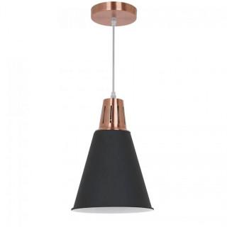 Lampadario in metallo con portalampada E27 nero