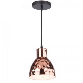 Lampadario in metallo cromato con portalampada E27 oro rosa