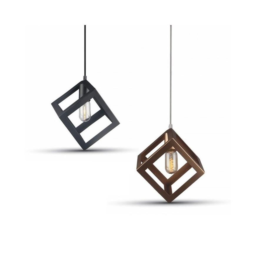 V tac lampadario a sospensione romboidale in metallo con for Lampade a led e 27