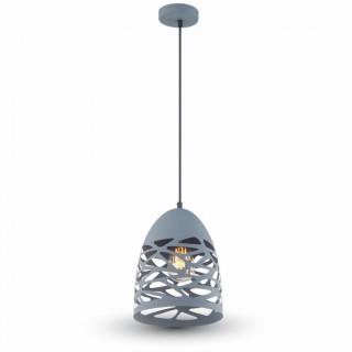 Lampadario a sospensione in metallo traforato grigio
