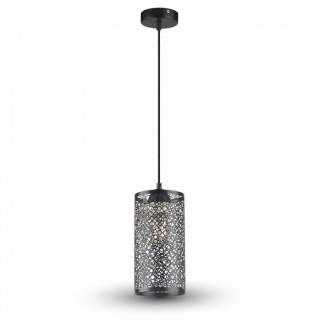 Lampadario a sospensione cilindro in metallo traforato nero