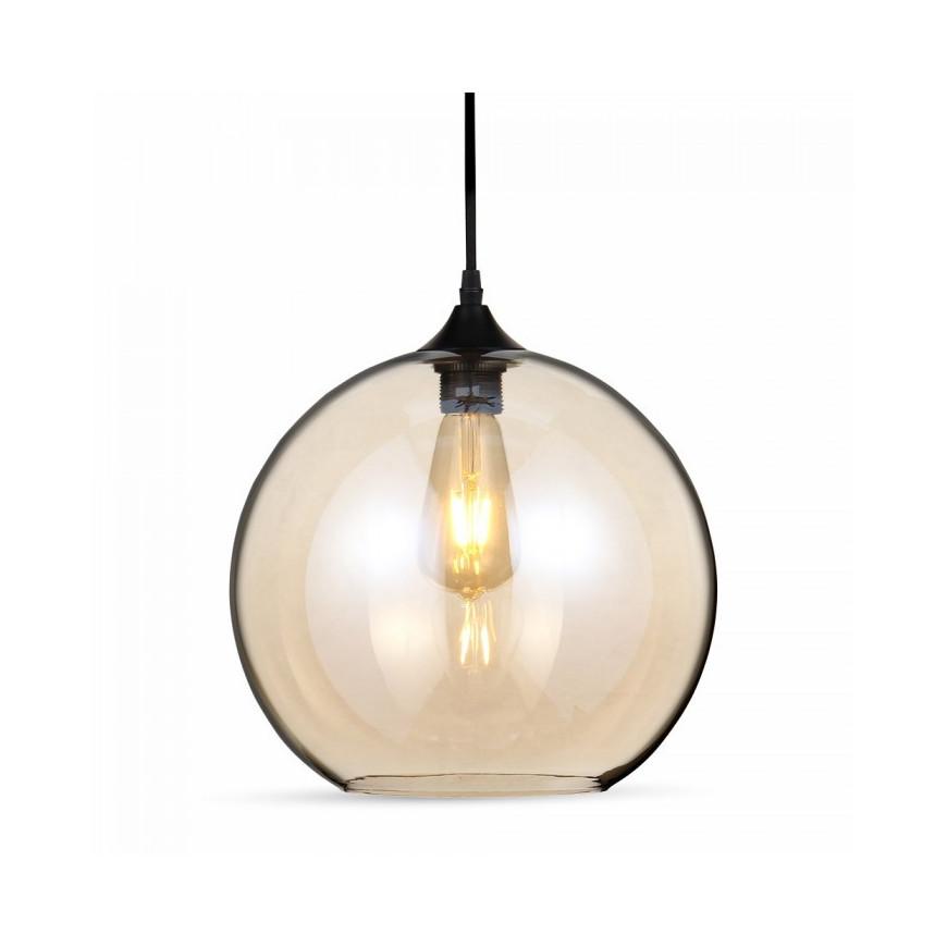V tac lampadario a globo in vetro ambrato con portalampada for Lampadari con lampade a led