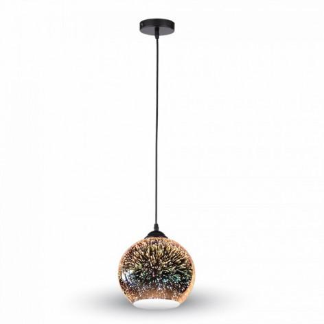 V-Tac VT-7015 Lampadario a globo in vetro effetto 3D con portalampada E27