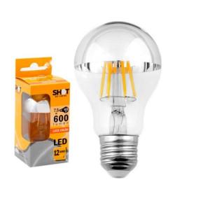 Lampadina LED E27 7,5W Bulbo A60 Filamento con calotta cromata