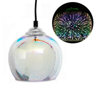 Lampadario a globo in vetro effetto 3D dettaglio