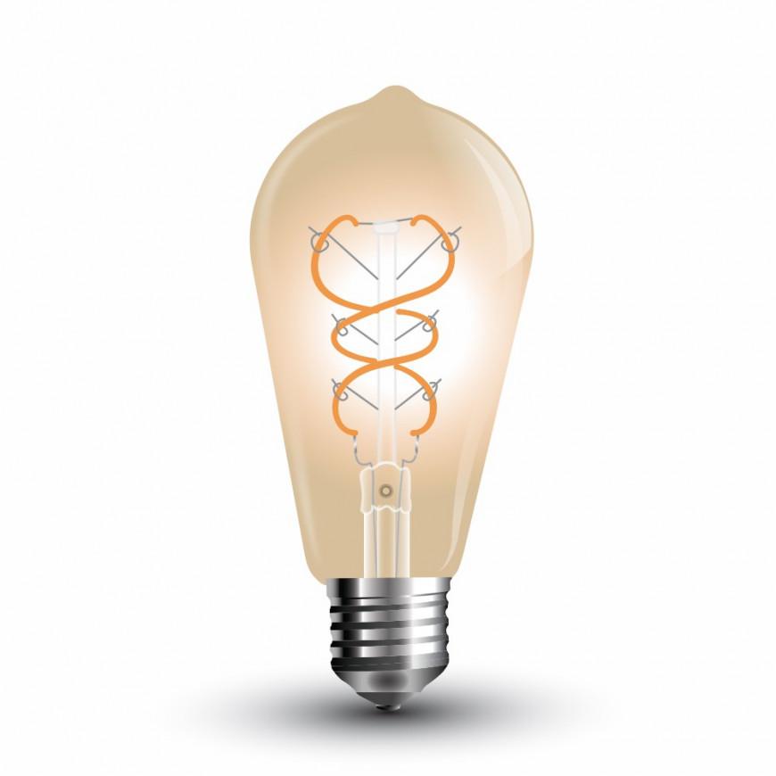 Lampadina LED E27 5W Bulbo ST64 Filamento Ambrata Vintage 300°