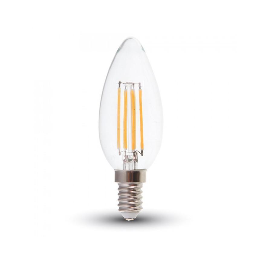 v tac lampadina led e14 4w candela filamento dimmerabile