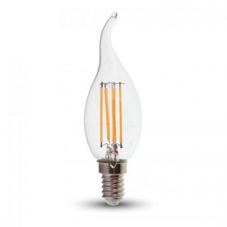 V-Tac VT-1997D Lampadina LED E14 4W Candela Fiamma Filamento Dimmerabile