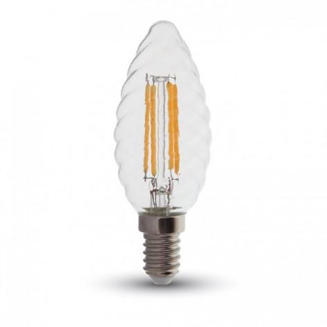 V-Tac VT-1985D Lampadina LED E14 4W Candela Spirale Filamento Dimmerabile