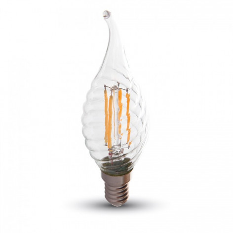 V-Tac VT-1995 Lampadina LED E14 4W Candela Fiamma Spirale Filamento