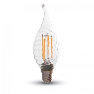 V-Tac VT-1995D Lampadina LED E14 4W Candela Fiamma Spirale Filamento Dimmerabile