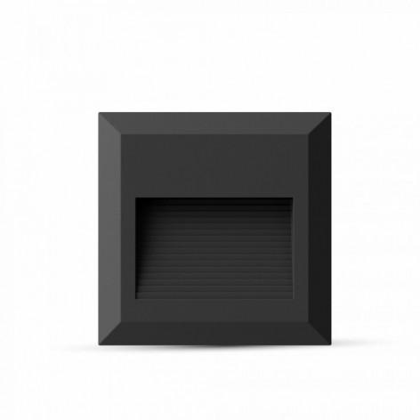 Faretto Segnapasso LED Da 2W A Montaggio Superficiale Quadrato  Per Esterno Nero