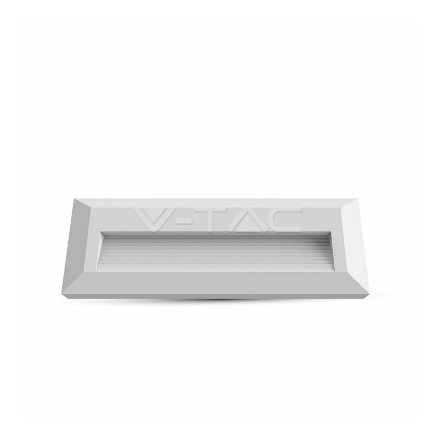 V-Tac Faretto Segnapasso LED Da 3W A Montaggio Superficiale Rettangolare Per Esterno Bianco