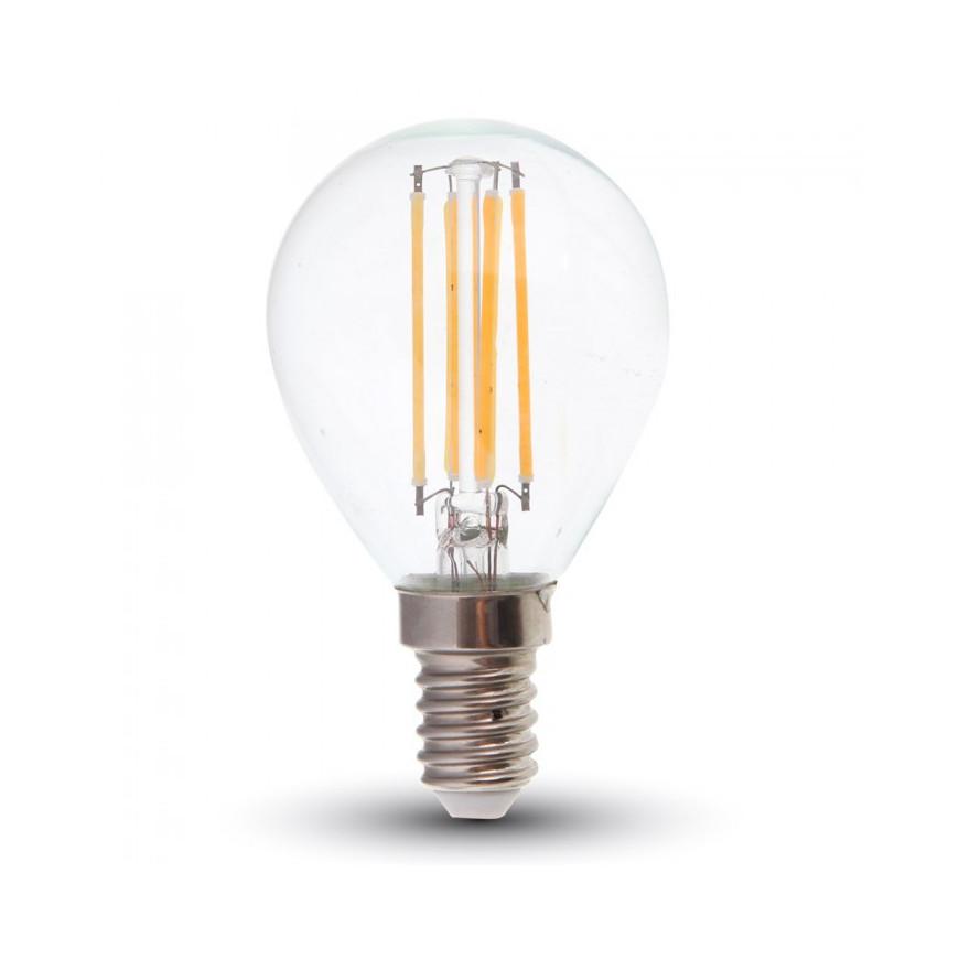 V-Tac VT-1996D Lampadina LED E14 4W Miniglobo P45 Filamento Dimmerabile