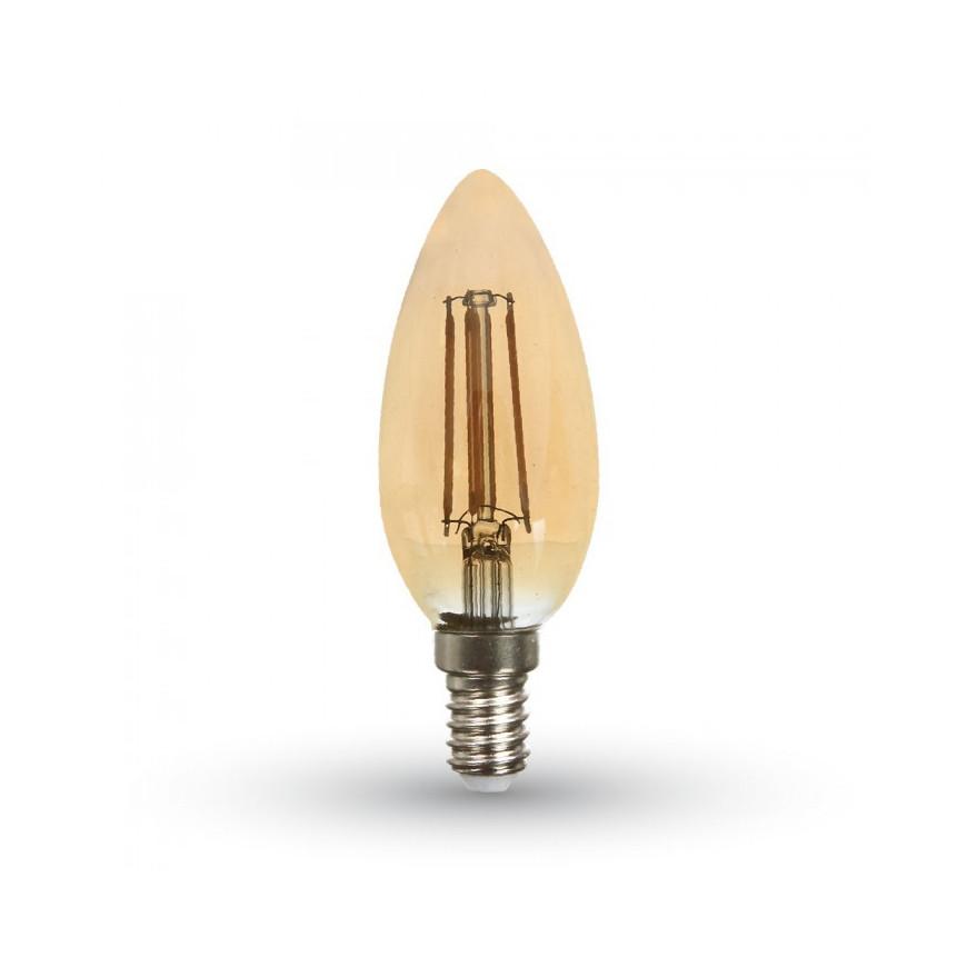 V-Tac VT-1982 Lampadina LED E14 4W Candela Filamento Ambrata Vintage