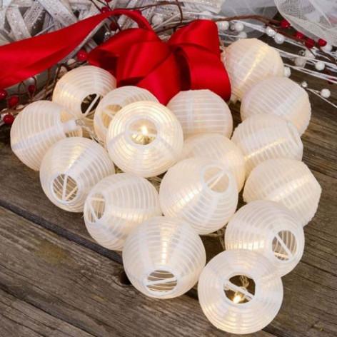 Catena 16 Lanterne luci LED Bianco Caldo a Batteria per interno/esterno con controller