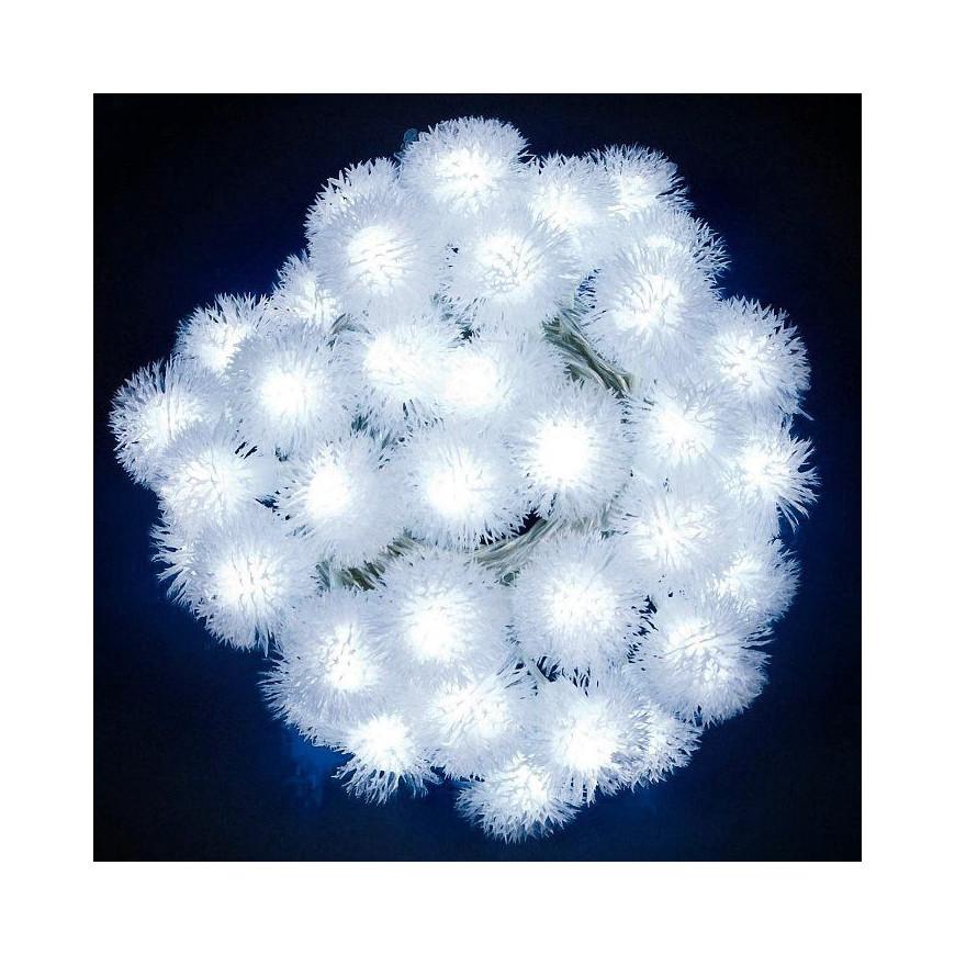 Catena 40 Sfere Snowball con LED Bianco Freddo per interno/esterno con controller memory