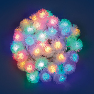 Catena 40 Sfere Snowball con LED Multicolore per interno/esterno con controller memory
